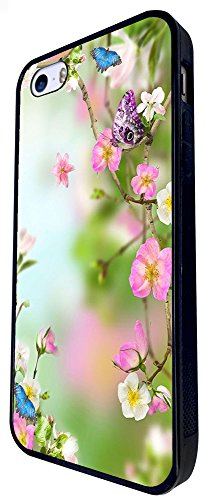 996 - Cool Fun Cute Floral Flowers Flora Butterfly Roses Nature Shabby Chic Design iphone SE - 2016 Coque Fashion Trend Case Coque Protection Cover plastique et métal - Noir