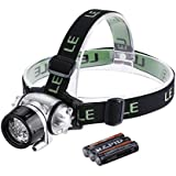 LE Headlamp LED for Camping, Running, Hiking, Reading, 4 Modes LED Headlamps, Battery Powered Helmet Light, Hands-free Camping Headlight, 3 AAA Batteries Included