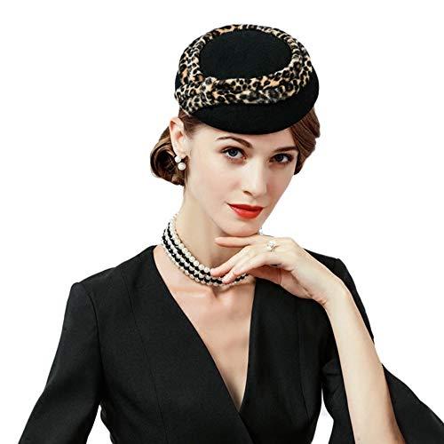 F FADVES Womens Leopard Print Fascinators Wool Pillbox Hat Wedding Kentucky Derby Tea Party Formal Headwear Black