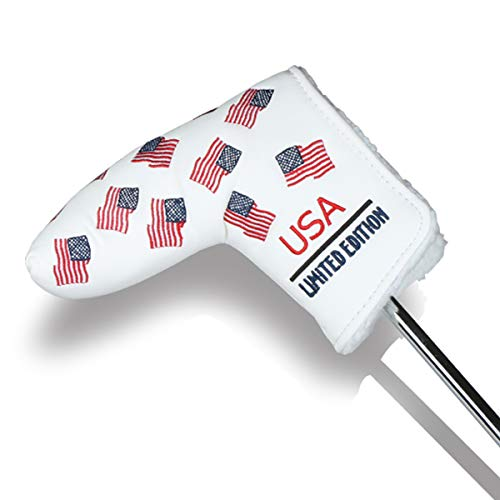 HAIYUE Golf Head Cover Putter USA Flag Blade Club Headcovers Stars and Strips PU Leather Embroidered Blade Fit All Brands Gift Accessories for Men Women
