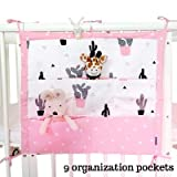 Muslim Tree Playard Nursery Hanging Organizer and Diapers Organizer | Baby Diaper Caddy | Universal Fit for Hanging on All Playards | Store toys books and More (Pink Cactus)