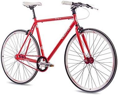 CHRISSON Bicicleta Fixie Singlespeed Retro FG Flat 1.0 Rojo, 59 cm, Urban Old School Fixed Gear Bike para hombre y mujer: Amazon.es: Deportes y aire libre
