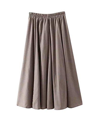 Femme Jupe Max A-Linei Coton Simple Elgante Classique Vintage Elastique Taille pour Et Plage Dcontract Maison Plisse Jupe Gris