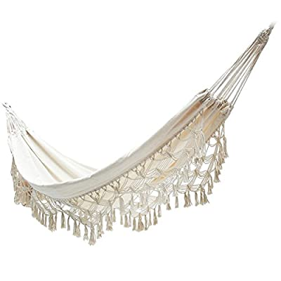 """Handmade Brazilian Natural Ecru Cotton Hand Woven Hammock with White Crochet Fringe, Deluxe Style Beautiful White Lace Wedding Hammock, Festive Brazil,79"""" Lx59 W - Size: 79""""L*59""""W.The hammock accommodates up to 200 kg. capacity Fringed Macramé Hammock elaborated in a traditional loom with beautiful bell fringe, made completely by hand by women artisans. Hammock is made with 70% cotton and 30% polyester: SOFT for extreme comfort and durability; Cotton helps in bringing down the severity of any allergic reaction and is perfect for providing a healthy and soft touch to skin. Best materials you can find in outdoor furniture. - patio-furniture, patio, hammocks - 419xR04OSlL. SS400  -"""