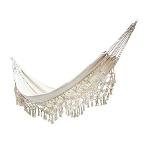 """Handmade Large Brazilian Natural Ecru Cotton Hand Woven Hammock with White Crochet Fringe, Deluxe Style Beautiful White Lace Wedding Hammock, Festive Brazil,with Tree Ropes and Carry Bag - Size: 80""""L*60""""W.The hammock accommodates up to 200 kg. capacity Fringed Macramé Hammock elaborated in a traditional loom with beautiful bell fringe, made completely by hand by women artisans. Hammock is made with 70% cotton and 30% polyester: SOFT for extreme comfort and durability; Cotton helps in bringing down the severity of any allergic reaction and is perfect for providing a healthy and soft touch to skin. Best materials you can find in outdoor furniture. - patio-furniture, patio, hammocks - 419xR04OSlL. SS570  -"""