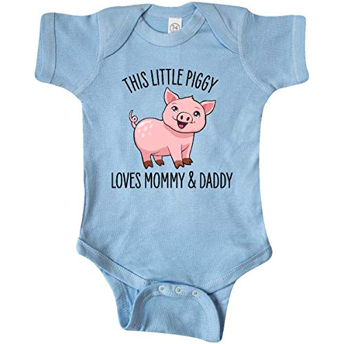 inktastic This Little Piggy Loves Mommy and Infant Creeper Newborn Baby Blue