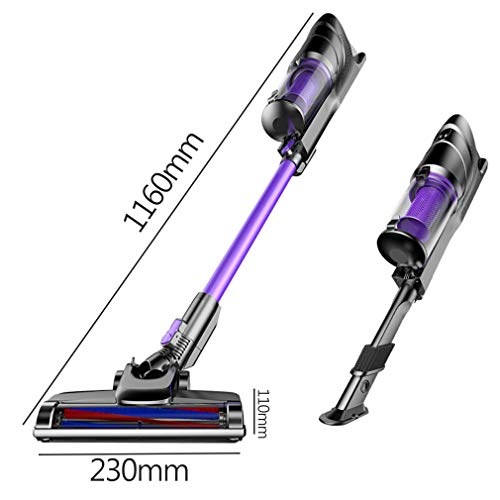 BBG Household Goods,Vacuum Cleaner Two in One Hand-Held/Push Rod Vacuum Cleaner Compact and Quiet 120W High Power Rechargeable Lithium-Ion Battery,Standard Edition ()