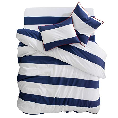 Friends at Home Kids Duvet Cover Twin Set - 100% Cotton, Soft, Hypoallergenic, Comfy, Fuzzy Bedding Hotel Collection Blue,White with Red Piping (White Blue Twin Red Cover Duvet)