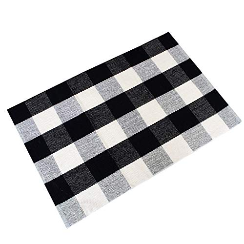 USTIDE 2'x3' Black and White Plaid Rugs Washable Handmade Rug for Kitchen/Bathroom/Entry Way/Laundry Room/Living Room -