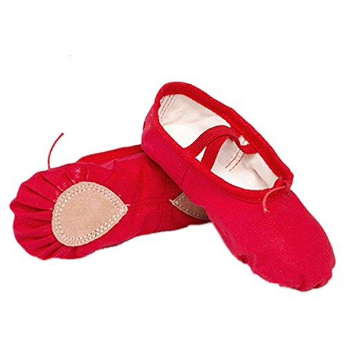 Better Annie New 7 Color Canvas Soft Ballet Dance Shoes Yoga Shoes Children Girls Women Slippers According Red 20