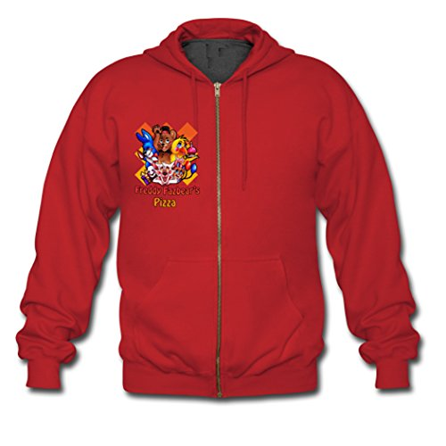 Men Five Nights at Freddy's Pizza Gildan Zip Jacket Sweatshirt Coat Hoodie Small Red (Zombie Pizza)
