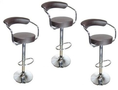 South Mission Brown - Omicron Kitchen Padded Bar Stool (Set of 3)