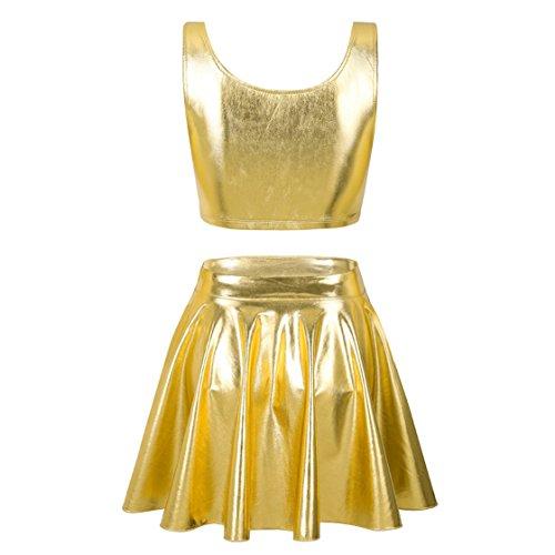 iiniim Damen Zweiteiler Crop Tank Top mit Metallic Mini Faltenrock Set Gogo Clubwear M-XL Gold KVFxxz