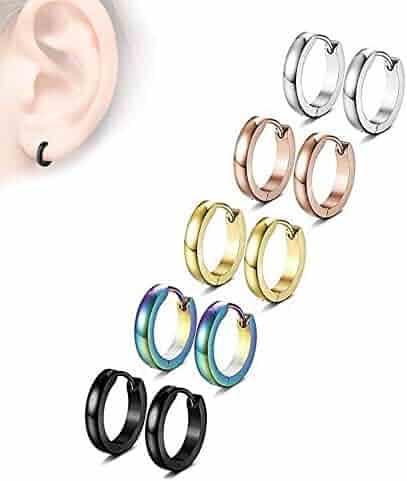 c9d9c216e 5 Pairs Stainless Steel Mens Womens Hoop Earrings Set Huggie Ear Piercings