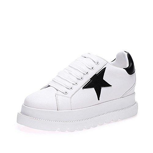 LvYuan Zapatos blancos de las mujeres / cuero de patente / oficina y carrera / talón plano / manera ocasional al aire libre de la comodidad / zapatos de la flatform / zapatillas de deporte Lace-up que Black