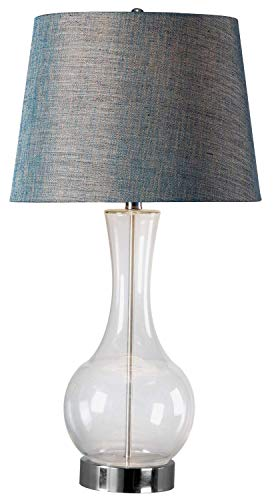 Kenroy Home 32255CLR Decanter Table Lamp, Clear/Blue Clear Blown Glass Table Lamp