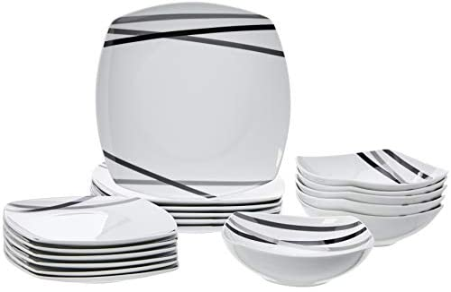 AmazonBasics – Servizio di piatti per 6 persone, 18 pezzi, Raggi moderni
