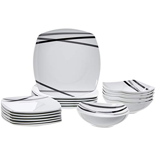 AmazonBasics 18-Piece Square Kitchen Dinnerware Set, Dishes, Bowls, Service for 6, Modern Beams