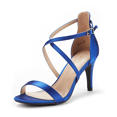 DREAM PAIRS Women's Dolce Royal Blue Satin Fashion Stilettos Open Toe Pump Heel Sandals Size 6 B(M) US