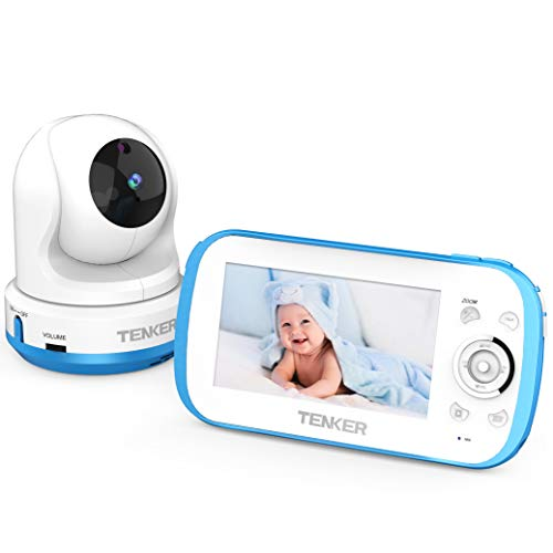 TENKER Video Baby Monitor with Camera and Audio, Baby Monitor with Night Vision, 4.3-Inch LCD Screen, 270°Pan-Tilt-Zoom, VOX, Lullaby, Two Way Talk, Temperature Detection, and Video Record (Blue) (Baby Monitor With Camera And Night Vision)