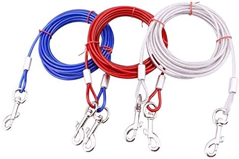 10//16//32FT Dog Tie-Out Cable Leash Steel Wire Metal Chain Pet Leash Heavy Duty