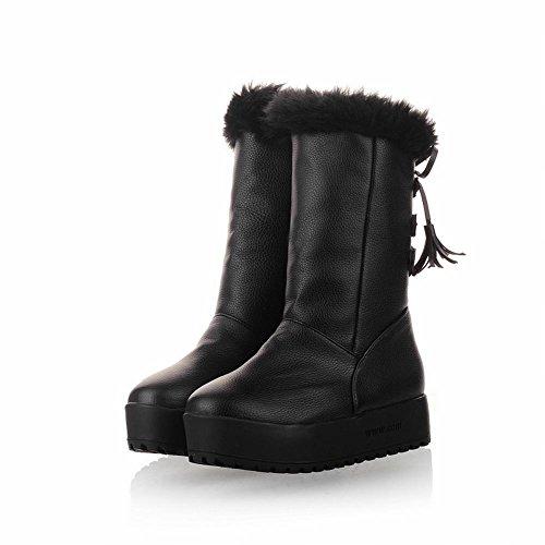 Carol Scarpe Carino Moda Donna Caldo Nappe Strappy Inverno Freddo Medio Stivali Da Neve Tacco Medio Nero
