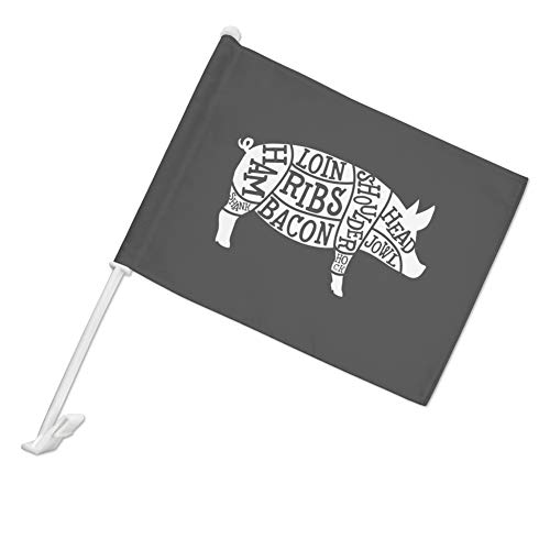 GRAPHICS & MORE Pork Pig Parts Illustration Bacon Car Truck Flag with Window Clip On Pole Holder - Left Driver - Driver Cooking Truck
