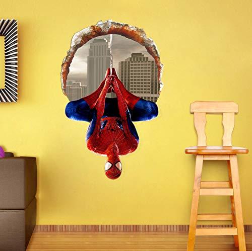 sansiwu Q 3D Cartoon Broken Wall Window Upside Down Spider-Man Wall Sticker Children's Bedroom Sticker Decoration Living Room Mural