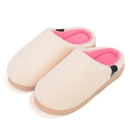 Wyhweilong Morbido Inverno Caldo Memory Foam Coral Fleece Pantofole Per Uomo E Donna Bianco