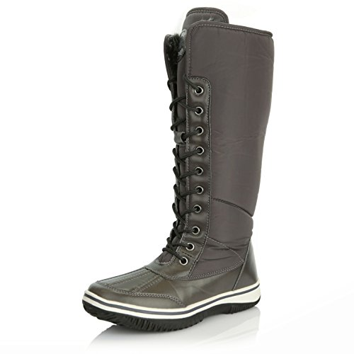 DailyShoes Water Cowboy Eskimo Gray up Tone Women's High Zipper Boots Snow Knee D'Cor Fur 2 Warm Resistant S8xOSrq
