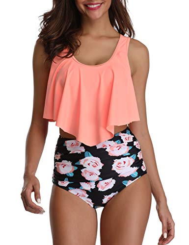Mycoco Women's High Waist Bikini Crop Flounce Two Piece Swimsuits Flowy Bathing Suit Orange with Flowers US 8-10