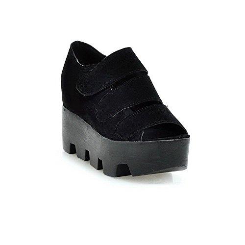 AllhqFashion Mujeres Puntera Abierta Sólido Plataforma Velcro Sandalia Negro