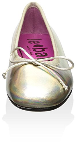 Le Babe Women's Flat with Bow Silver Iridescent 9cNjbVVUrW