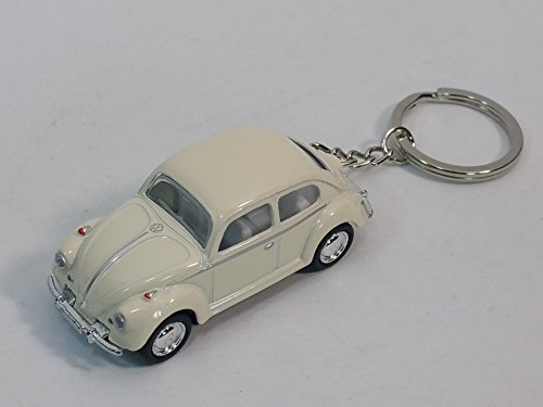 Kinsmart White Classic VW Volkswagen Beetle Keychain 1/64 Pastel Color Diecast Car Diecast Car Keychain