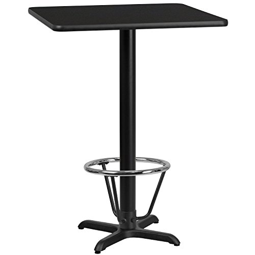 Flash Furniture 30'' Square Black Laminate Table Top with 22'' x 22'' Bar Height Table Base and Foot Ring