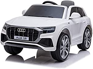 TOBBI 12V Licensed Audi Q8 Kids Ride on Car with Remote Control Electric Powered Vehicle with Bluetooth, Radio, Music, Horn, LED Lights(White)