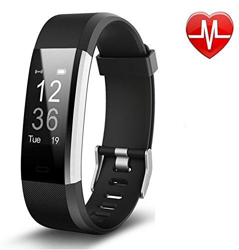 Damusy Fitness Tracker, Bluetooth Watch Activity Tracker Smart Band with Heart Rate Monitor,Waterproof Bracelet Pedometer Wristband with Calorie Counter, Call/SMS Remind for Android and iOS ()