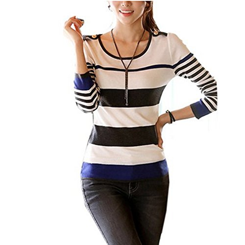 Zeagoo Women's Autumn Winter Korean Casual Long Sleeve Stripe Pullover Sweater
