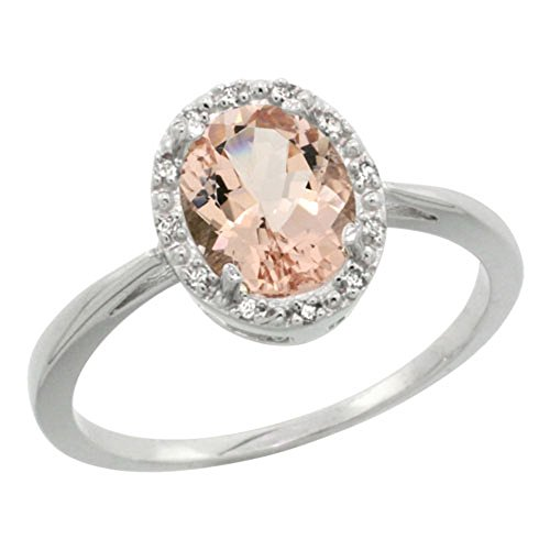 Sterling Silver Natural Morganite Diamond