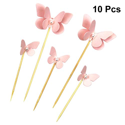 10Pcs Butterfly Shape Cake Toppers Funny Topper Decorating Fruit Salad Picks for Wedding Birthday Party Supplies -