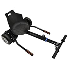 """Hoverkart Seat attachment for hoverboard or self balance scooter. Heavy duty frame with universal attachemnts for 6.5"""", 8"""" 10"""" wheel. All black color"""