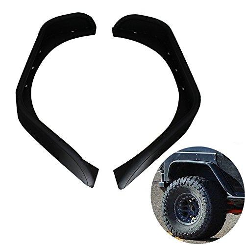 Price comparison product image GLAD CRE8 Black Textured Steel Rear Flat Crusher Guard Fender Flares For 2007-2016 Jeep Wrangler JK Unlimited Models