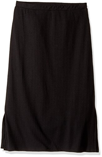 Amy Byer Girls' Big' Mid Length Knit Skirt with Side Slits, Black, XL