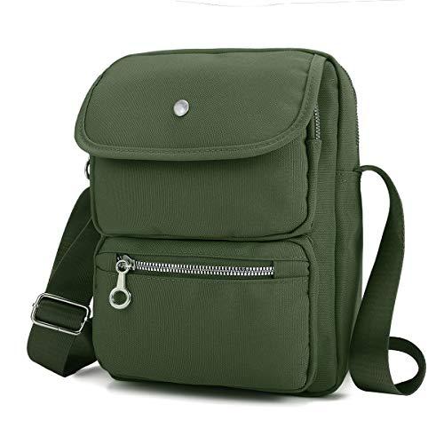 (Crossbody Bag for Women, JOSEKO Multi-Pocketed Nylon Shoulder Bag Purse Travel Passport Bag Messenger Bag (7.87''(L) x 2.76''(W) x 10.24''(H), Green))