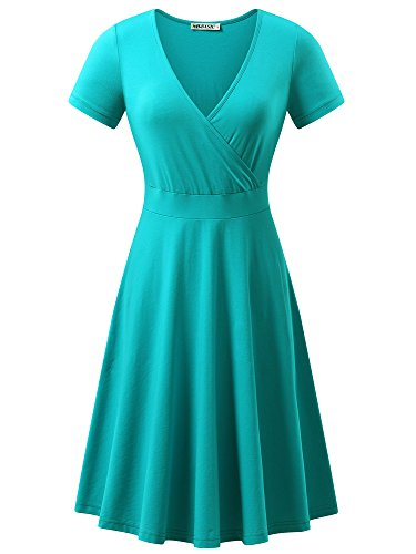 MSBASIC Work Dress Plus Size Short Sleeve Dress Turquoise M]()