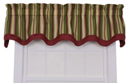 - Ellis Curtain Montego Stripe Bradford Valance Window Curtain, Green by Ellis Curtain
