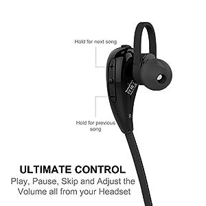 iPhone 8 Bluetooth Headphones, TechMatte Bluetooth Earbud Headphones for Apple iPhone X,8, 8 Plus, 7, 6S, 6 Plus, Samsung Galaxy S8/S8 Plus/S7/S7 Edge (Black)