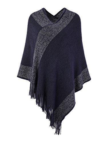 (Ferand Stylish Knit Striped V Neck Pullover Poncho with Tassels for Women, One Size, Navy Blue)