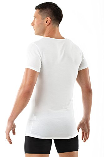 ALBERT KREUZ Deep-V-Unterhemd Business Herrenunterhemd aus Micromodal Light atmungsaktiv Kurzarm weiß