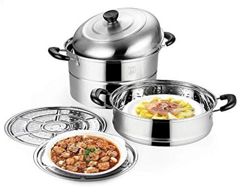 POETRY Ménage de cuiseur à Vapeur de Pot de Soupe d'acier Inoxydable 304 avec Le cuiseur à Vapeur 28cm épaissi approprié à la cuisinière à Induction de cuisinière à gaz